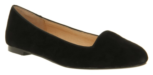Office black suede flats