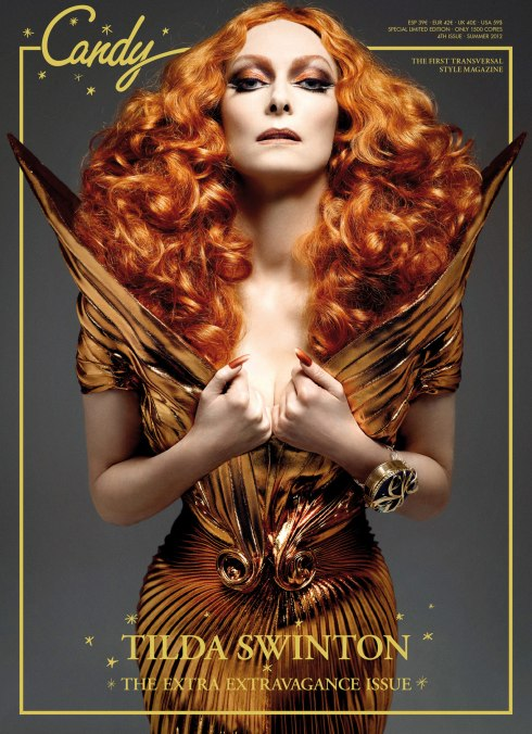 Tilda Swinton on the cover of Candy magazine