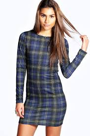 boohoo tartan dress